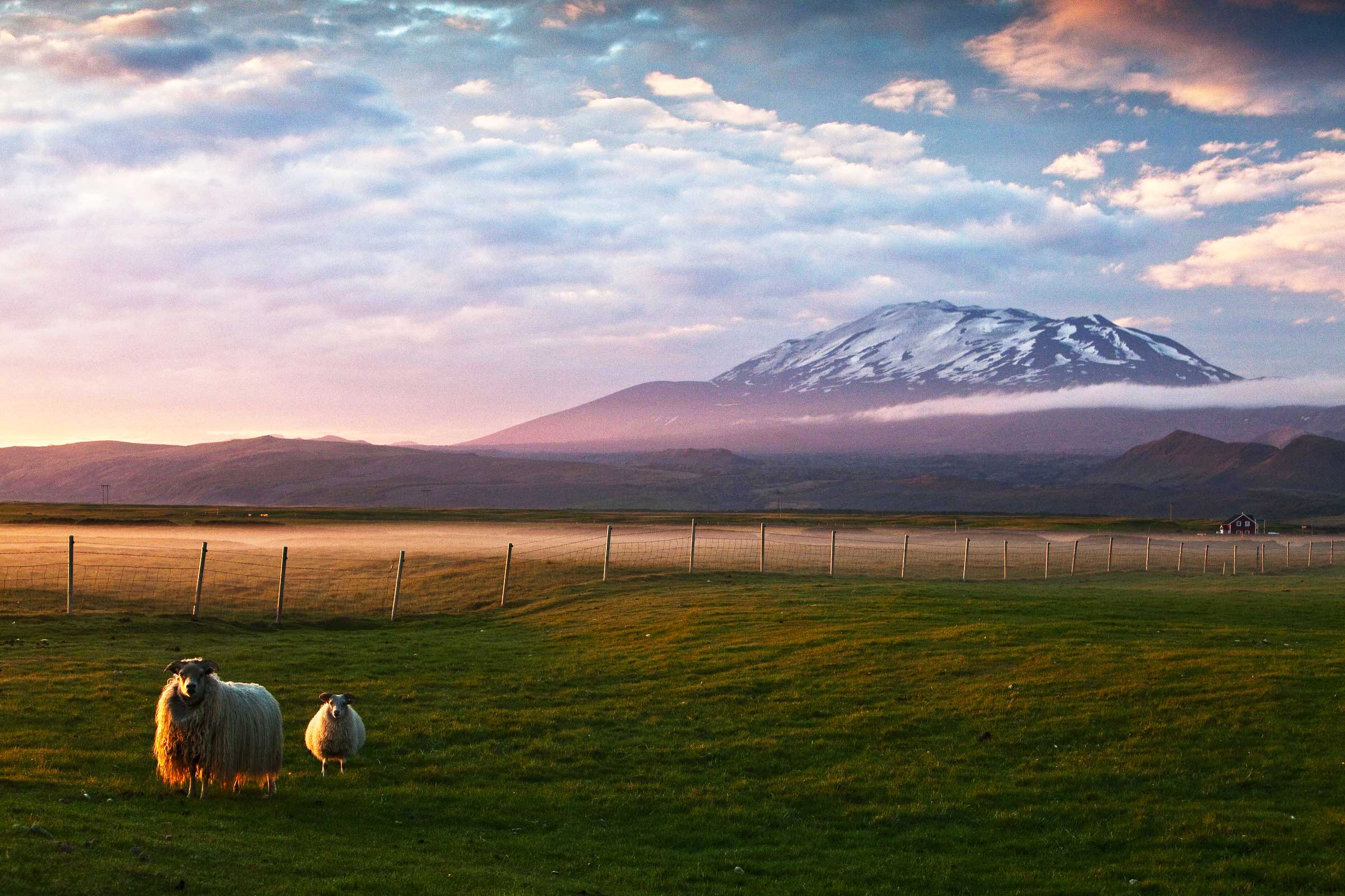 Iceland landscape with Hekla volcano in the background. Hekla most active volcano in Iceland